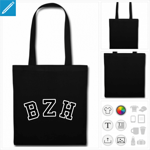 tote bag rouge bzh personnalisable
