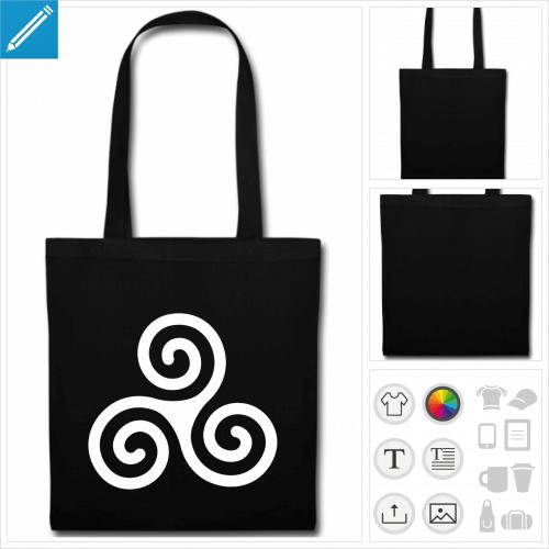 sac tissu noir Breizh triskel à créer en ligne