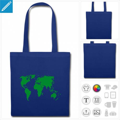 tote bag bleu terre personnalisable, impression à l'unité