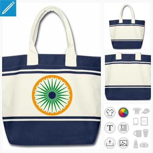 sac de courses drapeau indien personnalisable, impression à l'unité