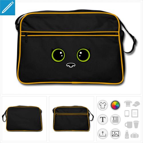 sac rétro bleu chat kawaii à personnaliser et imprimer en ligne
