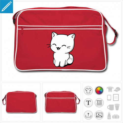 sac vintage chaton kawaii à personnaliser et imprimer en ligne