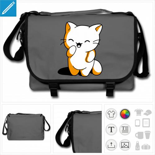 sac à bandoulière chaton à personnaliser