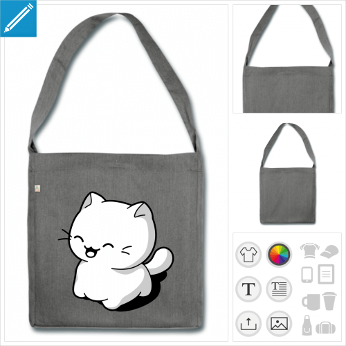 sac à bandoulière chat kawaii à créer soi-même