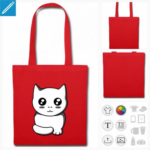 tote bag chaton kawaii à personnaliser et imprimer en ligne