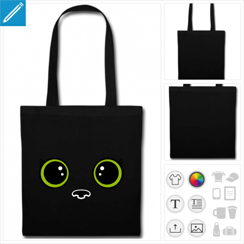 tote bag chaton personnalisable