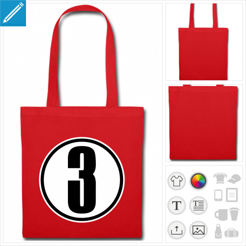 tote bag Numéro 3 à créer en ligne
