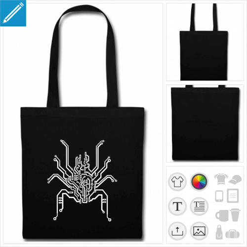sac tote bag noir araignée personnalisable, impression à l'unité