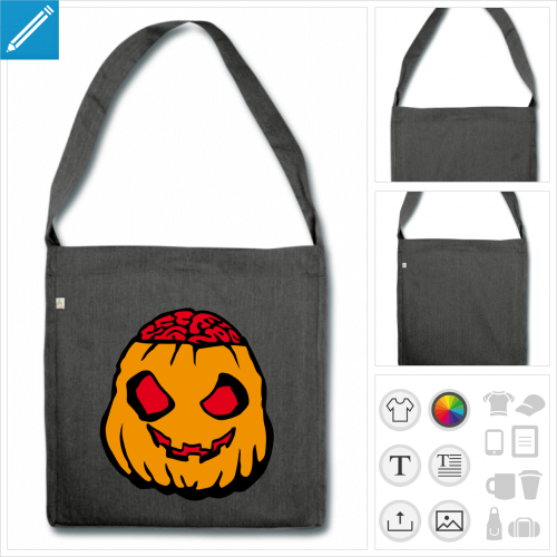 sac de courses citrouille halloween à personnaliser, impression unique