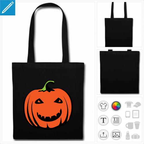 sac tote bag noir citrouille sourire à créer en ligne