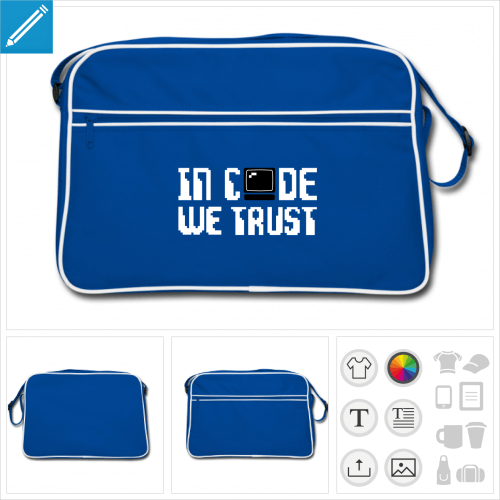 sac rétro bleu développeur à créer soi-même