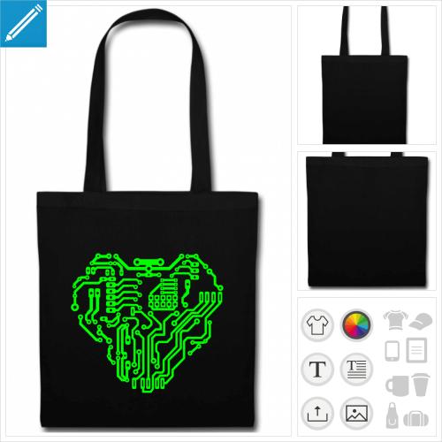 sac tote bag noir robot personnalisable
