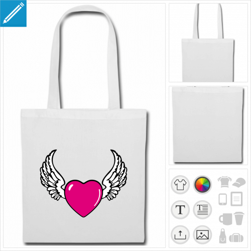 sac tissu coeur à créer en ligne