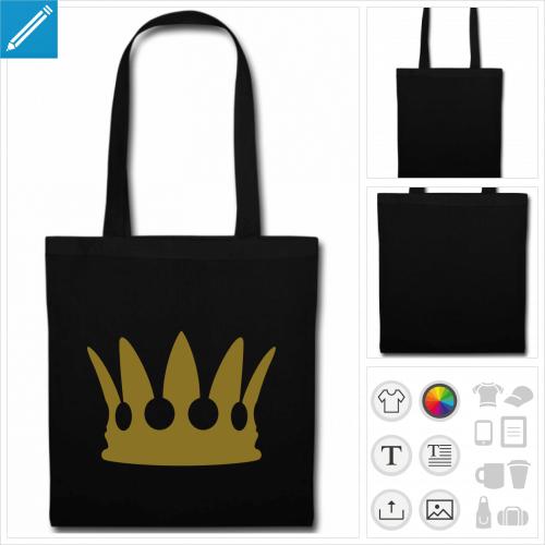 sac tote bag noir couronne à imprimer en ligne