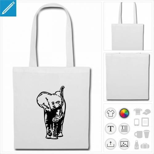 sac tote bag éléphant personnalisable