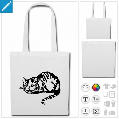 tote bag chat personnalisable, impression à l'unité