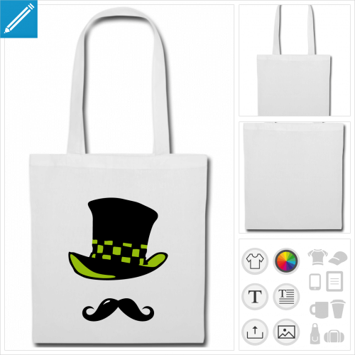 sac tote bag moustache rigolote personnalisable