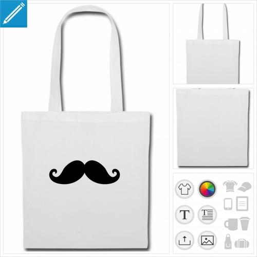 sac tissu moustachu personnalisable, impression à l'unité