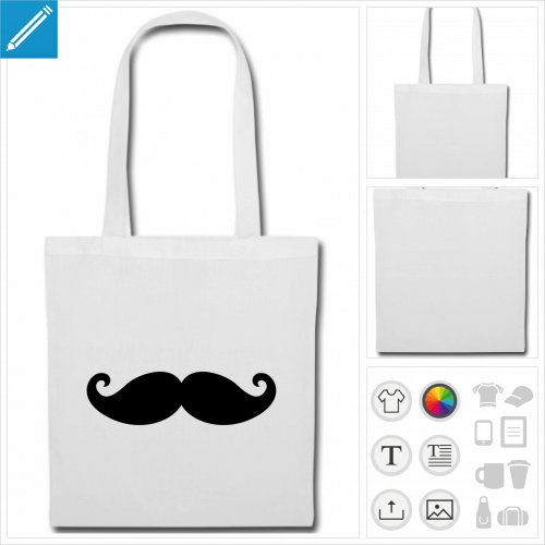 sac de courses moustachu à personnaliser en ligne
