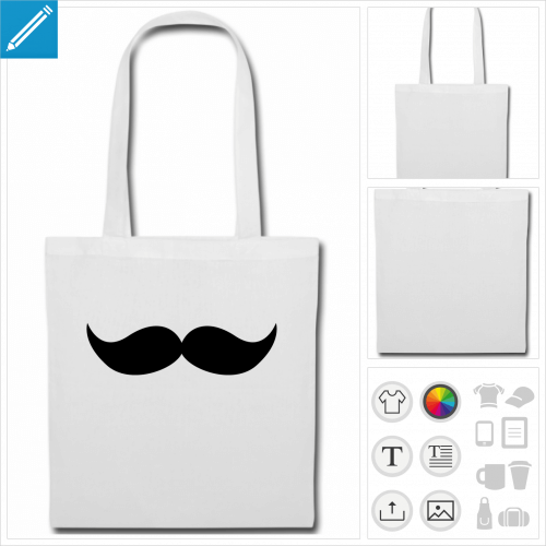 tote bag moustache à personnaliser