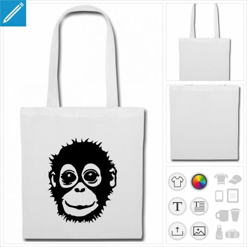 sac tote bag bébé singe à imprimer en ligne