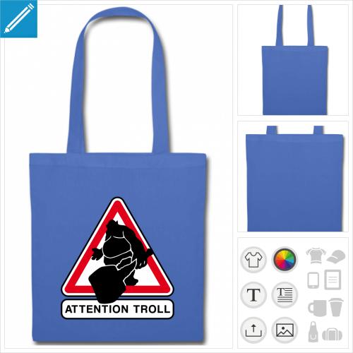 tote bag bleu troller à imprimer en ligne