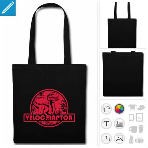 sac tissu noir velociraptor à personnaliser et imprimer en ligne