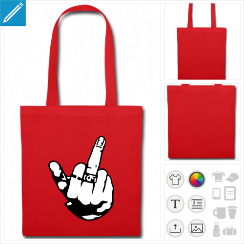 tote bag rouge doigt fuck personnalisable
