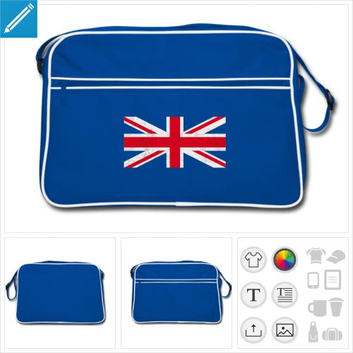 sac rétro drapeau anglais personnalisable, impression à l'unité