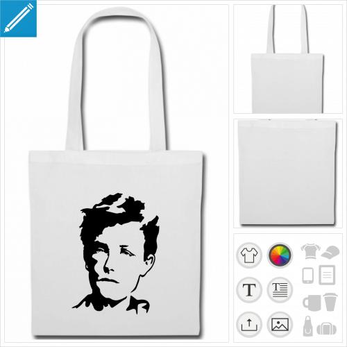 sac tote bag Rimbaud à personnaliser et imprimer en ligne