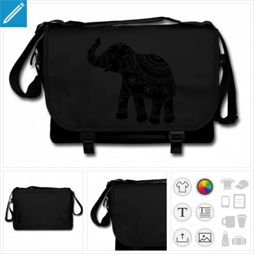 sac noir éléphant indien à personnaliser et imprimer en ligne