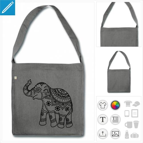 sac à bandoulière éléphant inde à personnaliser en ligne