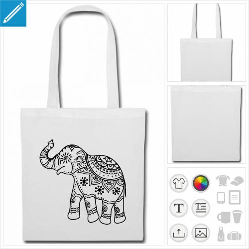sac tissu noir éléphant inde à personnaliser et imprimer en ligne