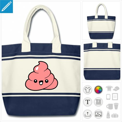 sac de courses emoji à personnaliser et imprimer en ligne