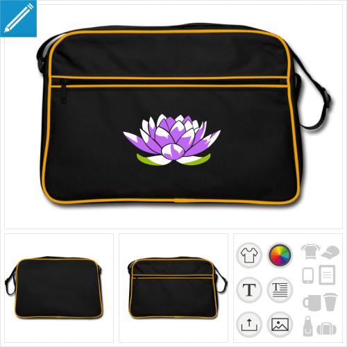 sac bandoulière noir lotus à personnaliser