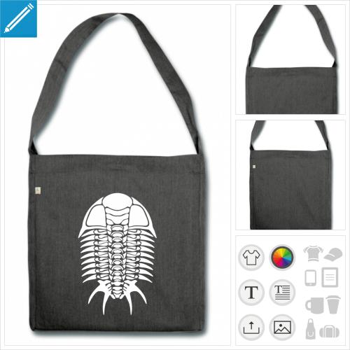 sac cabas trilobite personnalisable, impression à l'unité