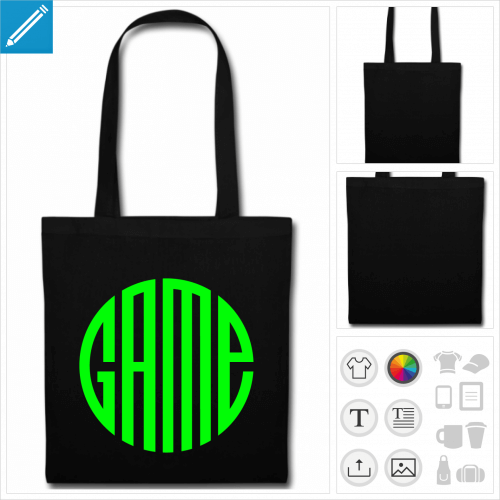 sac tissu noir gaming à personnaliser, impression unique