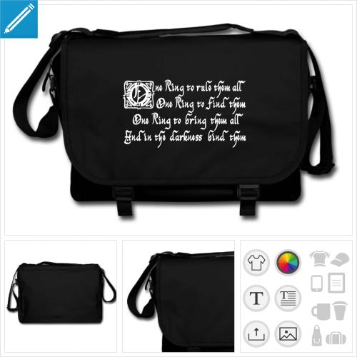 sac à bandoulière one ring Tolkien à imprimer en ligne