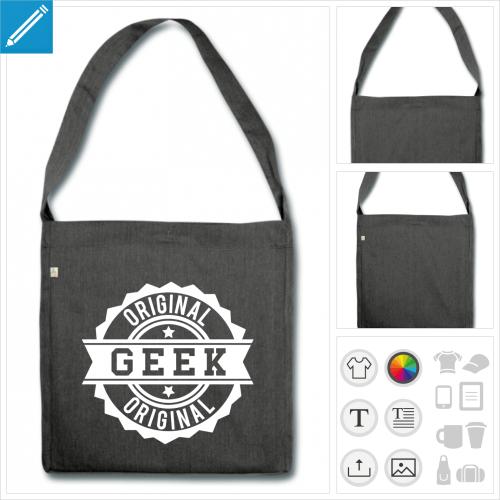 sac à bandoulière tampon geek à personnaliser