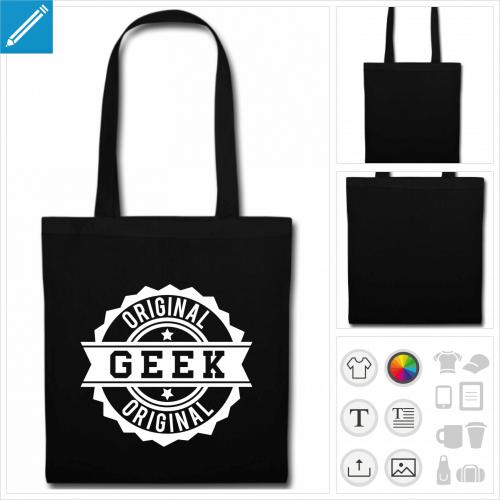 sac tote bag noir geek original à imprimer en ligne