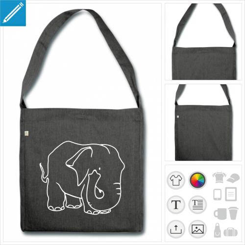 sac cabas éléphant à personnaliser, impression unique