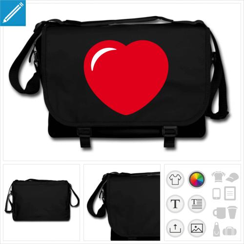 sac à bandoulière coeur à imprimer en ligne