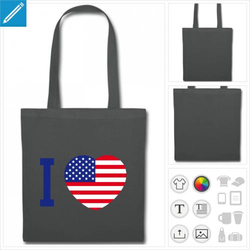 sac de courses I love usa à personnaliser et imprimer en ligne