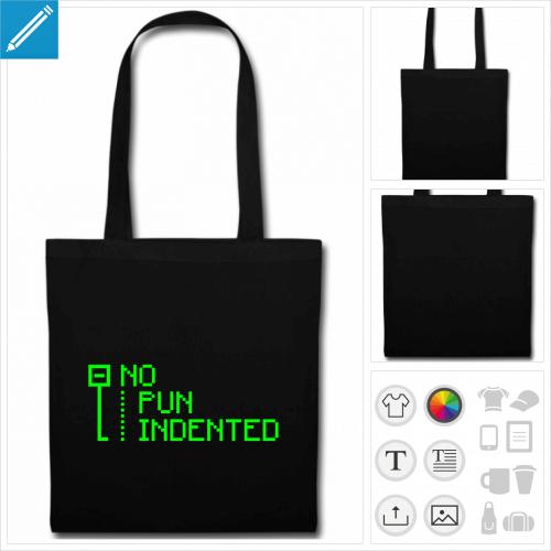 sac tote bag noir pun indented à personnaliser et imprimer en ligne