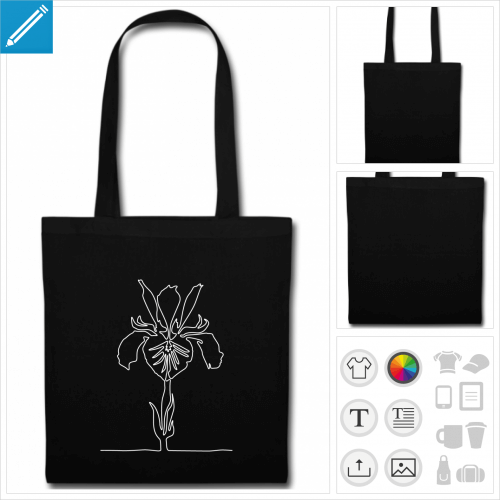tote bag iris fleur à créer soi-même