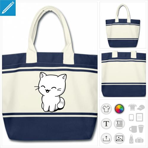 sac de courses chaton kawaii à imprimer en ligne