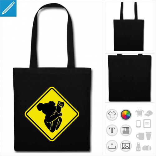 sac tissu noir panneau à personnaliser