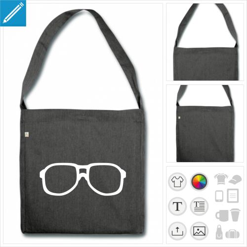 sac cabas lunettes nerd à personnaliser et imprimer en ligne