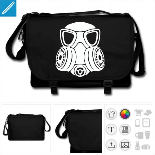 sac à bandoulière masque à gaz à personnaliser, impression unique