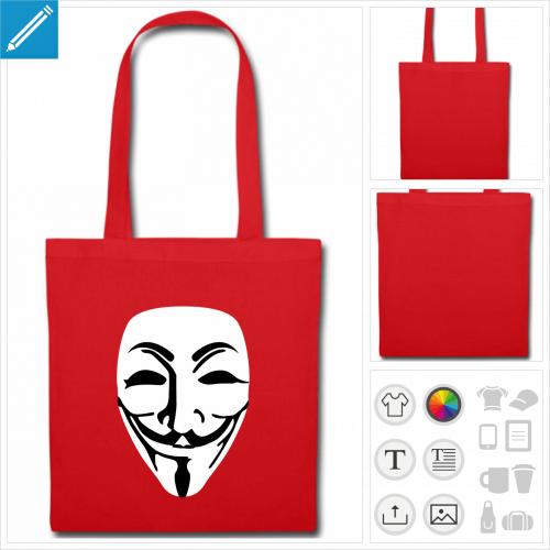 sac tissu noir masque Vendetta personnalisable